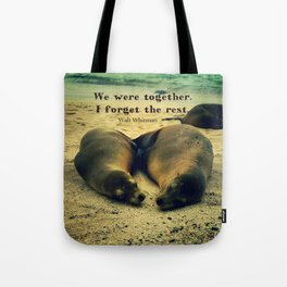 Love couple quote sea lions on the beach Tote Bag