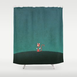 Small winged polka-dotted red cat Shower Curtain