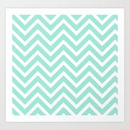 Chevron Stripes : Seafoam Green & White Art Print
