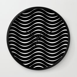 Vector Black and White Thick Wavy Lines Pattern Wall Clock