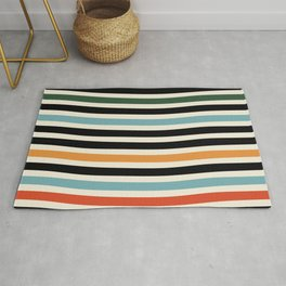 Raincore - Mid Century Modern Rainbow Retro Lines Abstract Pattern - Blue Yellow Green Red Black Rug