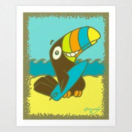 Surfin' Toucan! Art Print