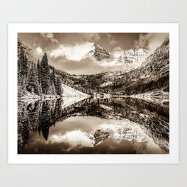 Colorados Maroon Bells Mountain Landscape Reflections in Sepia Art Print