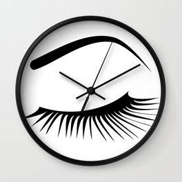 Closed Eyelashes Left Eye Wall Clock