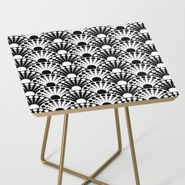 black and white art deco inspired fan pattern Side Table