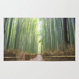Empty Path Arashiyama Bamboo Forest Rug
