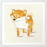 shiba Art Prints featuring shiba shiba by Elise Lesueur