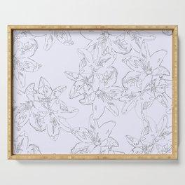 lavender line art floral pattern Serving Tray