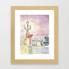Love In The Rain Framed Art Print