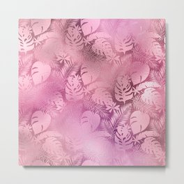 Iridescent Tropical Leaves in Pink and Pastels Metal Print
