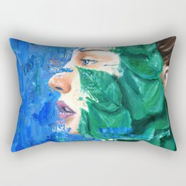 Leaves and face Rectangular Pillow