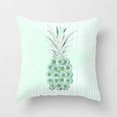 Floral Pineapple Stripes Mint Throw Pillow