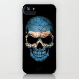 Dark Skull with Flag of Honduras iPhone Case
