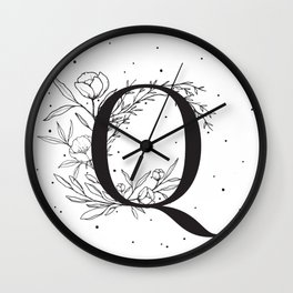 Black Letter Q Monogram / Initial Botanical Illustration Wall Clock