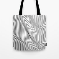flag Tote Bags featuring Minimal Curves by Leandro Pita