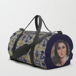 Spain 46 - Woman in Madrid with mosaic on the wall Duffle Bag