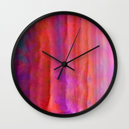 Striped Watercolor Art vibrant Red and Pink Wall Clock