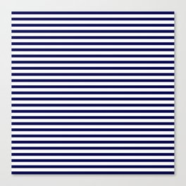 Navy Blue & White Maritime Small Stripes- Mix & Match with Simplicity of Life Canvas Print