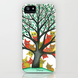 Nebraska Whimsical Cats in Tree iPhone Case