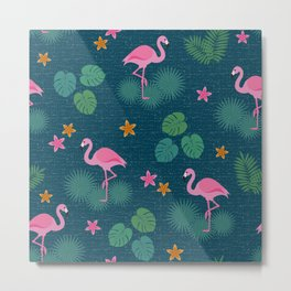 Bohemian nonchalance tropical flamingo pattern on dark background Metal Print