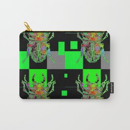 GREEN & BLACK CUBIC MODERN ART WITH REDDISH BEETLES Carry-All Pouch