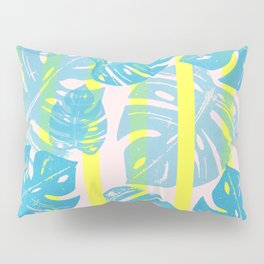 Linocut Monstera Neon Pillow Sham