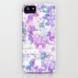 Lavender lilac pink white watercolor aztec floral iPhone Case