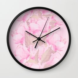 Peonies And Butterflies Illustration In Frame #decor #society6 #homedecor Wall Clock