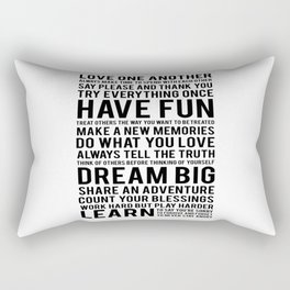 "Inspirational Quote ""Family Rules"" Subway Stlye Family Typography Nursery Print Motivational Quote Rectangular Pillow"