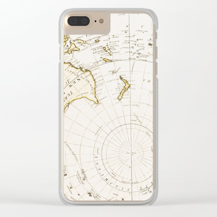 Southern Hemisphere - reproduction of William Faden's 1790 engraving Clear iPhone Case