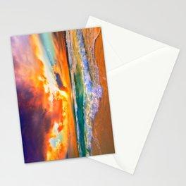 Orange Sunset Landscape Red Purple Green Sea Waves Art Stationery Cards