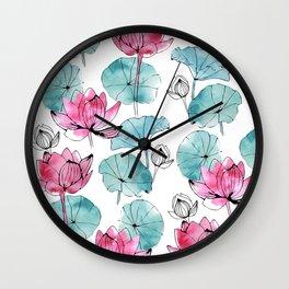 Waterlily buds Wall Clock