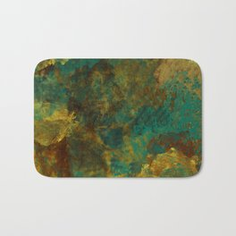 Turquoise, Gold, and Copper Abstract Bath Mat