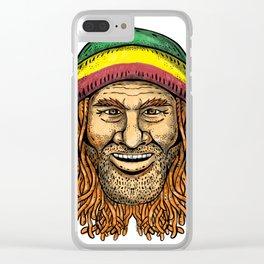 Rastafarian Dude Tattoo Color Clear iPhone Case