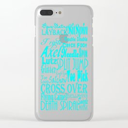 Turquoise Figure Skating Subway Style Typographic Design Clear iPhone Case