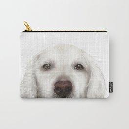 Golden Retriever WhiteDog illustration original painting print Carry-All Pouch