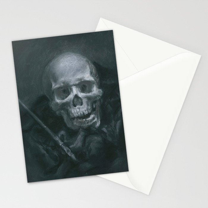 Skull with Paint Brush Stationery Cards