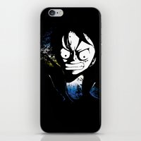 luffy iPhone & iPod Skins featuring angry luffy grunge sign by BradixArt
