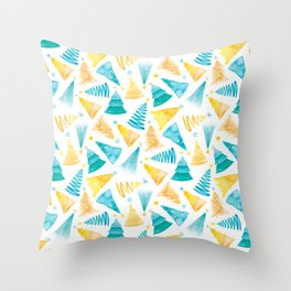 Oh Christmas Tree in Teal-Turquoise and Yellow-Gold Throw Pillow