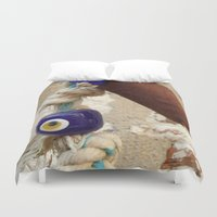 evil eye Duvet Covers featuring evil eye bead by habish