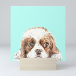 Cavalier King Charles Spaniel Dog Watercolor Pet Portrait Mini Art Print