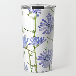 blue chicory watercolor Travel Mug