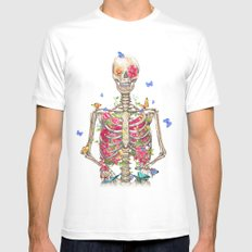 Blooming skeleton on the white background  White Mens Fitted Tee MEDIUM
