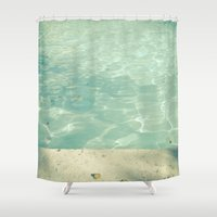 swim Shower Curtains featuring Morning Swim by Cassia Beck