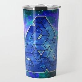 Triangle Blue Space With Nebula Travel Mug