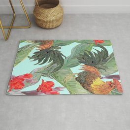 red fire roosters Rug