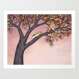 cedar waxwings on the stained glass tree Art Print