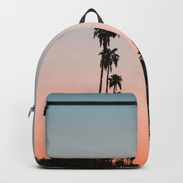 California Sunset // Palm Tree Silhouette Street View Orange and Blue Color Sky Beach Photography Backpack