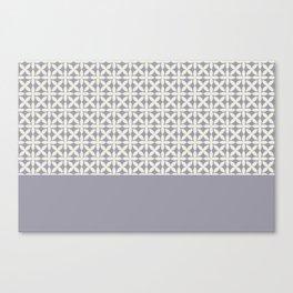 Pantone Cannoli Cream Square Petal Pattern on Pantone Lilac Gray Canvas Print