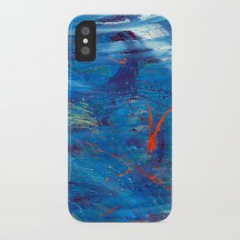 Red in Blue iPhone Case